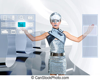 futuristisch, kinderen, meisje, beroeren, vinger, copyspace, scherm