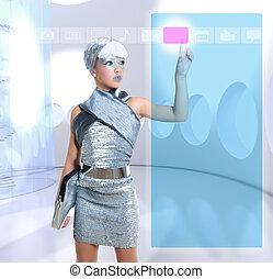 futuristisch, kinderen, meisje, in, zilver, beroeren, vinger, copyspace
