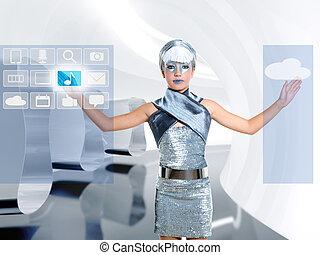 futuristisch, kinderen, meisje, in, zilver, beroeren, vinger, icloud, pictogram