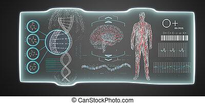 futuristisch, mal, medisch, interface, hud, vrijstaand, op, een, achtergrond