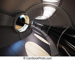 futuristisch, moderne, interieur, 3d, vertolking