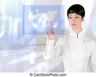 futuristisch, vrouw, beroeren, vinger, globaal, kaart
