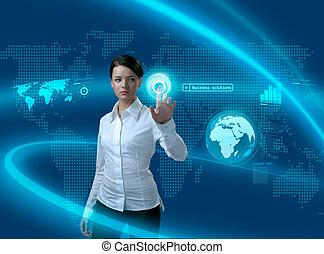 futuro, affari, soluzioni, donna d'affari, in, interfaccia