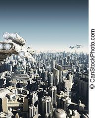 futuro, ciudad, ataque