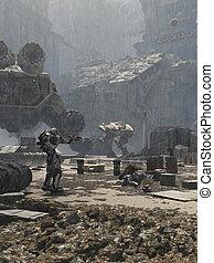 futuro, ciudad, campo de batalla