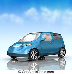 futuro, ciudad, coche, concepto, en, azul