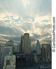 futuro, ciudad, después, el, tormenta