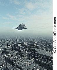 futuro, ciudad, nave espacial, overflight
