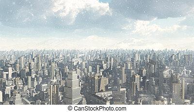 futuro, ciudad, nieve