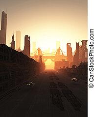 futuro, ciudad, puente, en, salida del sol