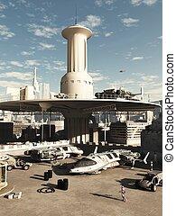 futuro, ciudad, spaceport