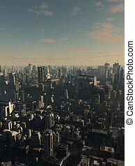 futuro, ciudad, -, tarde atrasada