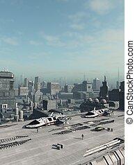futuro, ciudad, vehículo espacial, lanzadera, parque