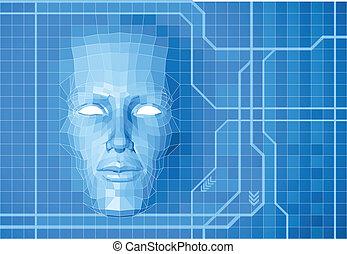 futuro, concetto, fondo, faccia