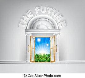 futuro, concetto, porta