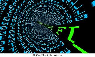 futuro, datos, túnel