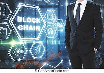 futuro, e, blockchain, conceito