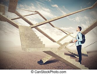 futuro, escadas, infinito
