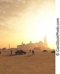 futuro, espacio, marinos, se acercar, un, desierto, avanzada