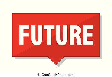 futuro, etichetta, rosso