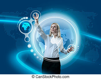 futuro, globo, interface, navegar, por, atraente, loiro