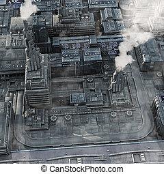 futuro, industriale, città