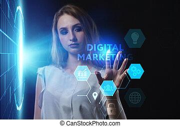 futuro, lavorativo, rete, concept., affari, digitale, marketing, internet, uomo affari, giovane, vede, virtuale, tecnologia, schermo, inscription: