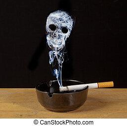 futuro, morte, fumo, cranio