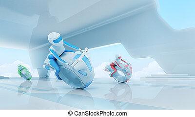futuro, motobike, jinetes, equipo, en, hola-hi-tech,...