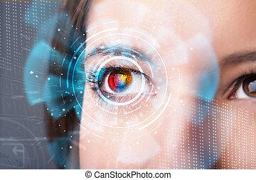 futuro, mujer, con, cyber, tecnología, ojo, panel, concepto