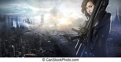futuro, mujer, concepto, negro, látex, con, luces de neón, encima, ciudad, ¿?