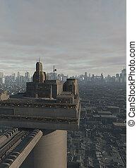 futuro, opinión de la ciudad, de, un, alto, torre