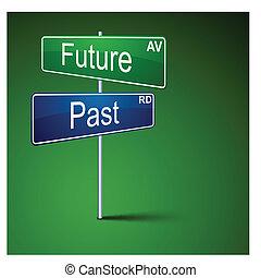 futuro, passado, direção, estrada, sinal.