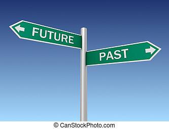 futuro, passato, segno strada, 3d, illustrazione