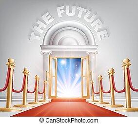 futuro, porta, moquette rossa