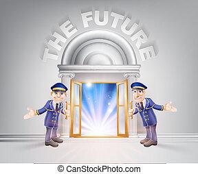 futuro, porta, porteiros