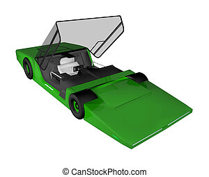 futuro, prototipo, coche