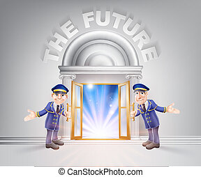 futuro, puerta, porteros
