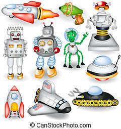 futuro, retro, iconos