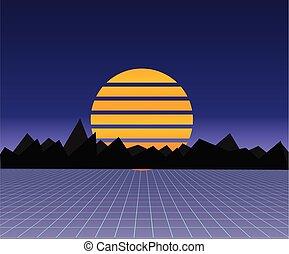 futuro, retro, paisagem, de, a, 80s., vetorial, futurista,...