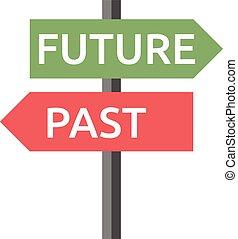 futuro, sinal, isolado, passado