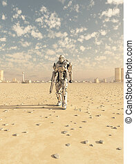futuro, soldado, desierto, patrulla