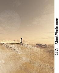 futuro, soldado, exploración, un, desierto, planeta