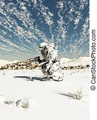 futuro, soldado, nieve, patrulla