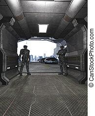 futuro, soldados, proteger, el, hangar