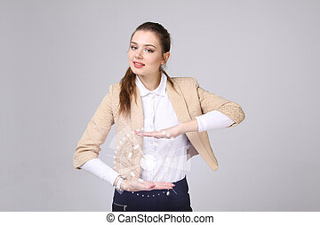 futuro, technology., mulher, trabalhando, com, futurista, interface