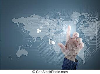futuro, technology., toque, botão, inerface