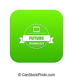 futuro, tecnologia, ícone, verde