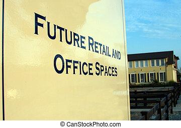 futuro, venta al por menor, y, espacios de la oficina, señal