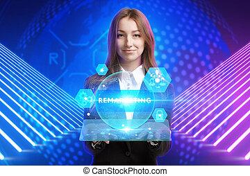 futuro, virtual, ve, pantalla, tecnología, inscription:,...